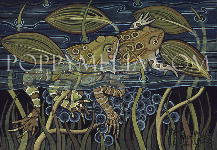 Frogs Mating II Painting by Poppy Melia