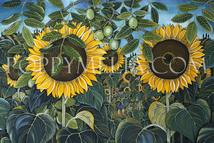 Sunflowers and Walnuts Painting by Poppy Melia